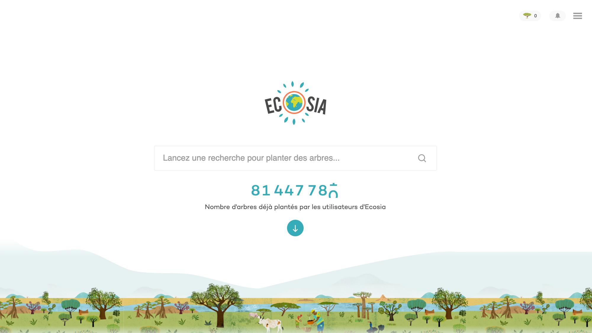 Ecosia homepage